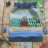 Drawstring Bag with Little Cabin By The Lake Applique Design