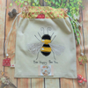 Drawstring Fabric Bag With Appliqued Bumble Bee Design
