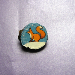 Sitting Fox hand made wooden brooch