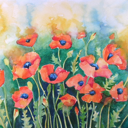 "High Quality art card ""Dancing Poppies"""