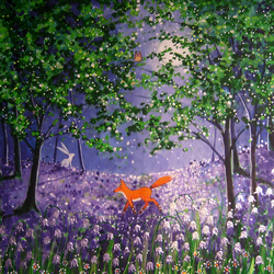 Midnight in the Bluebell Wood Fine Art Giclee Print