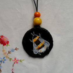 Bumblebee hand painted slate pendant necklace
