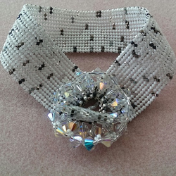 Crystal and White Herringbone Stitch Bracelet with Swarkovski Crystal Clasp