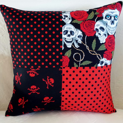 Red and Black Goth Emo Skulls and Roses Patchwork Cushion