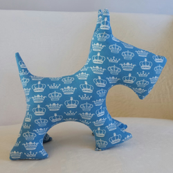 Blue and White Crowns Print Scottie Dog