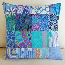 Hand-Stitched Blue Patchwork Cushion
