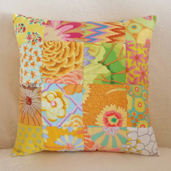 Hand-Stitched Sunshine Yellow Patchwork Cushion