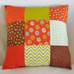 Hand-Stitched Orange, Brown and Green Patchwork Cushion