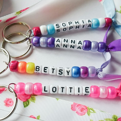 Personalised keyrings, kids name tags, kids name keyrings, school bag tag
