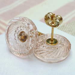 Pink Glass Vintage Earrings
