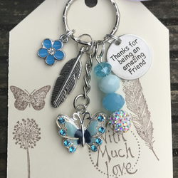 Forget Me Not & Butterfly Thanks For Being An Amazing Friend Keyring Gift