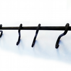 hand forged pot utensil pan rack or rail uk blacksmith made