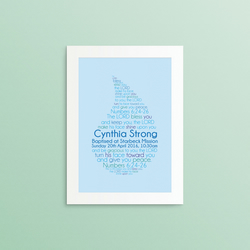 The Lord Bless You and Keep You - Personalised Baptism or Christening - A4 Print
