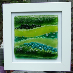Green abstract landscape in whte frame
