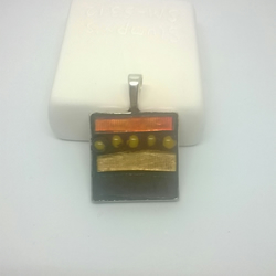 Orange Square Mosaic Pendant