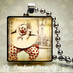 Circus Clown Wooden Scrabble Tile Pendant