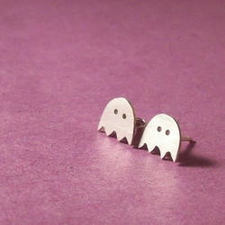 Sterling silver little ghost stud earrings