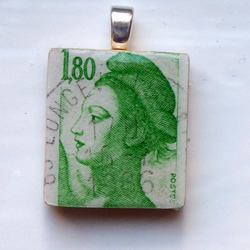 Postage stamp Scrabble tile pendant - French lady