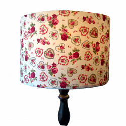 Lampshade with Vintage Hearts Flowers Red Pink Roses Shade Spring Home Decor