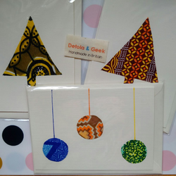 Christmas Cards set of 3, blank African print Xmas cards