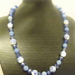 Blue and White Ceramic and Acrylic Beaded Necklace