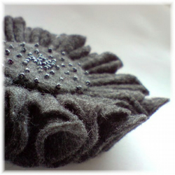 Extra Large 'Corona' Corsage in Charcoal Felt