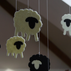 Black and White felt Sheep Nursery Baby Mobile