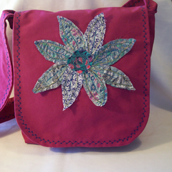 Shoulder - messenger bag with liberty of london fabric flower. FREE UK POST.
