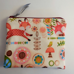 Handmade padded coin purse small make up bag. Pink fox fabric.