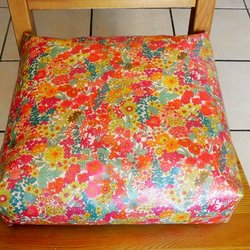 Toddler booster bean cushion. Magaret Anni Liberty of London oilcloth,with Ties.