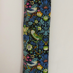 Seat belt cover. Liberty of London strawberry thief, grey  minky. Reversible.
