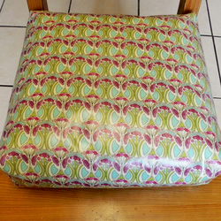 Toddler booster bean cushion. Mauverina Liberty of London oilcloth, with Ties.