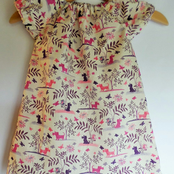 Baby dress 6-12 months. Liberty of London Plum dog tana lawn. With nappy cover.