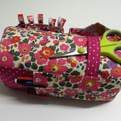 Large Pin Cushion Organiser. Liberty Pink Betsy. 6 pockets.
