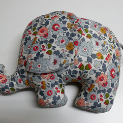 Elephant soft toy. Nursery Decor. Liberty Betsy Pastel.