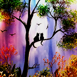 Giclee Altered Print Of Cats In Tree Original Acrylic Painting Giclee Print Art