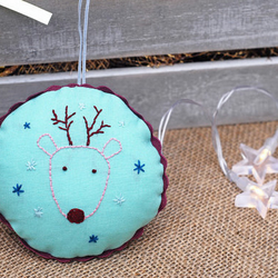 Hand Embroidered Deer Decoration, Xmas Tree Decoration, Embroidered Ornament