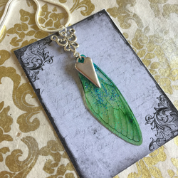Green Glittery Sterling Silver Fairy Wing Heart Necklace