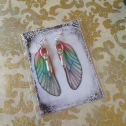 Red and Green Goddess Fairy Wing Sterling Silver Earrings