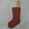 Small terracotta and cream diamond Christmas stocking tree decoration