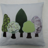 "16"" Spring Trees appliqued cushion"