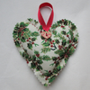 Small cream and green holly print Christmas hanging heart decoration