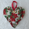 Small cream, green and red Christmas floral print hanging heart decoration