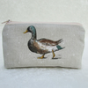 Large purse in pale beige with Mallard duck and drake