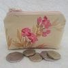 Small purse, coin purse - buttermilk with spray of pink flowers