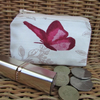 Small purse, coin purse - cream with red butterfly