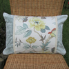 SALE - Duck-egg blue cushion with vintage style floral panel