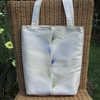SALE, Tote bag in ivory satin with blue and green leaf pattern
