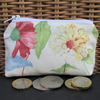 Small purse, coin purse in cream with pink and yellow floral print