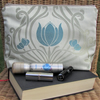 Cream toiletry bag, wash bag with turquoise Tulips and gold scrollwork